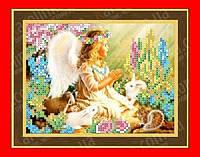 """Схема, частичная вышивка бисером, габардин, """"Ангел и животные"""" (Общение с природой)"""