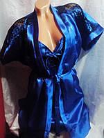 Женский атласный халат комплект