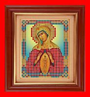 """Схема, частичная вышивка бисером, атлас, икона Божья Матерь """"Помощь в родах"""""""