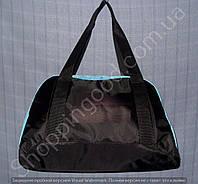 Женская сумка 114095 черная с голубым из полиэстера в форме трапеции