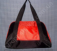 Женская сумка 114096 красная с черным из полиэстера в форме трапеции