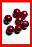 Бусина жемчужная, акрил, цвет бордовый, 10 мм