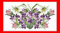 """Заготовка на клатч, чехол или сумочку, вышивка бисером, атлас/плащевка, """"Розы, лилии и фиалки"""""""