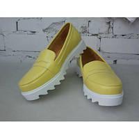 Женские туфли Люси на тракторной подошве из натуральной желтой кожи