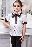Школьная блузка для девочки sh16 (черная и темно-синяя)