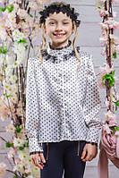Школьная блузка для девочки sh8 (белая)