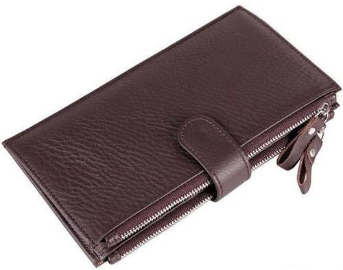 Стильный мужской кожаный кошелек S.J.D. 8057C,  коричневый