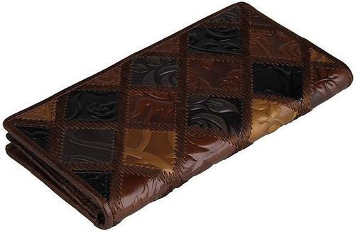 Женский функциональный кожаный кошелек S.J.D. 8090C, коричневый