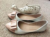 Балетки кожаные женские стильные летние белые с бантиком,цвет пудра,розовый
