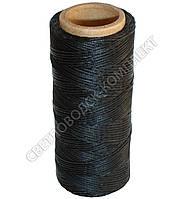 Нитка вощёная по коже (плоский шнур), т. 0.8 мм, 100 м, цв. чёрный