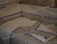 Детское постельное белье в кроватку из 8 ед. (горох+горох). В наборе конверт на выписку