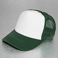 Темно-зеленая кепка тракер с белым