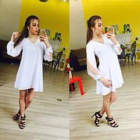 Легкое шифоновое платье с интересным рукавом Размеры 42-44, 44-46
