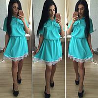 Платье женское юбка клеш летняя костюмка +дорогое итальянское кружево Размеры С М