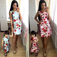 """Одинаковые летние платья мама и дочка """"Розы"""" разные цвета MDok06"""