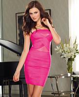 Яркое облегающее платье с эластичными полосами