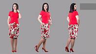 Женский летний костюм юбка из котона пиджак короткий рукав бенгалин Размеры : 48,50,52,54,56