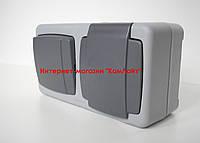 Выключатель одноклавишный + розетка с крышкой и заземлением MAKEL IP55 PLUS (Турция)