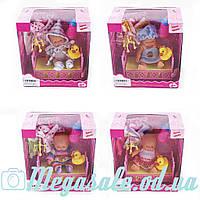 Кукла пупс 11см с кроваткой (Baby Born): 4 вида, наряды + бутылочка + уточка-пищалка