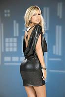 Черное клубное платье с металлическим блеском