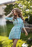 Асимметричное женское платье рубашка в клетку под пояс с рукавом три четверти коттон
