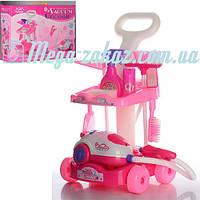 Детский набор для уборки с тележкой Pink Cleaner: пылесос + швабра/щетки (свет)