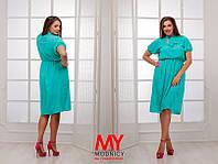 Платье  Батал Шифоновое воротник бант цвет нежно голубой