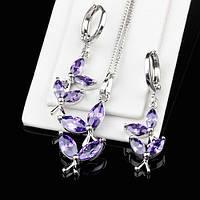 R7-0011 - Милый набор с фиолетовыми фианитами родий