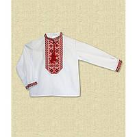 Детская вышиванка на мальчика белая с красным узором р 86-152