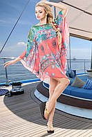 Красивая Пляжная Туника из Шифона Розовая S-XL