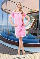 Легкое Платье Свободного Кроя из Батиста Розовое S-3XL