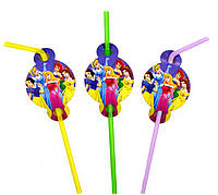 Коктейльные трубочки с гофрой Принцессы Диснея 8 штук