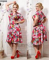 Женское платье на запах с цветами 50-64