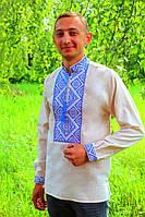 Мужская вышиванка на сером лене
