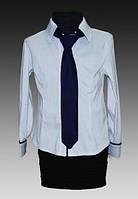 Блузка школьная для девочек с галстуком,рост 128-158 см (8-13 лет)S929