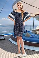 Романтичное Летнее Платье Синее Хлопок с Кружевом S-3XL