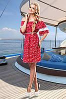 Романтичное Летнее Платье Красное Хлопок с Кружевом S-3XL