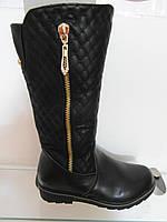 Зимние кожаные сапоги девочке классические чёрные
