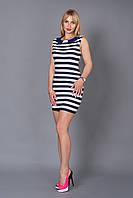 Стильное молодежное платье Морячка в полоску с оригинальным воротником