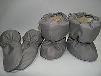 Набор краги и пинетки на овчине для малышей. Серый