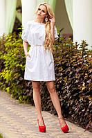 Стильное Платье из Хлопка с Оригинальными Рукавами Белое S-XL