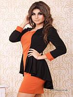 """Платье №3010-""""Баска""""-оранжевый+черный"""