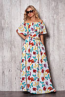 Модное летнее платье в стиле крестьянки длинное в пол с рисунком бабочки