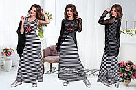 Комплект (Платье+Накидка)  №7600-черный+белая полоска