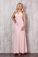 Стильное макси-платье длинной в пол с вырезом капелька на груди