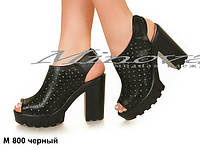 Женские классные кожаные босоножки на тракторной подошве и каблуке