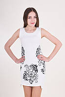 Элегантное вышитое платье  белого цвета на каждый день