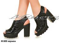 Стильные женские кожаные босоножки на тракторной подошве и каблуке Кармен