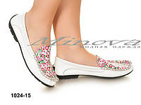 Очаровательные женские туфли-мокасины с натуральной кожи Цветочного принта