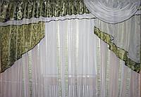 Ламбрекен из шторной ткани на карниз 3м. 027лю